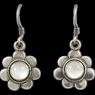 Sterling Silver Moonstone Flower Dangles Earrings