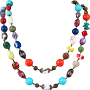 Mid Century Mixed Venetian Glass and Lucite Bead Necklace 56""
