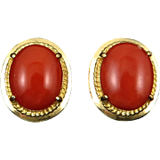 14K Natural Red Moro Coral Earrings