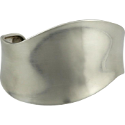 Modernist Sterling Silver Wide Cuff Bangle