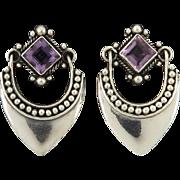 Amethyst and Sterling Silver Door Knocker Earrings