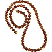 Baltic Cognac Amber Round Bead Necklace 24.5""