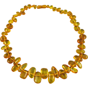 Baltic Honey Golden Amber Teardrop Necklace 17.5""