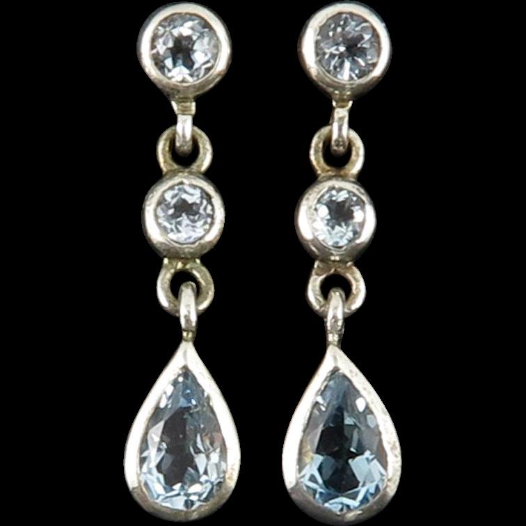 Blue Topaz Dangle Style Sterling Silver Earrings