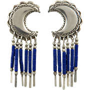 Sterling and Lapis Fringe Half Moon Earrings
