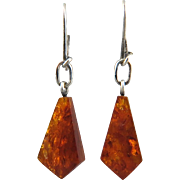 Edwardian Baltic Amber Dangle Earrings 970 Silver