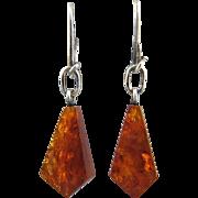 Edwardian Baltic Amber Dangle Earrings 970 Silver