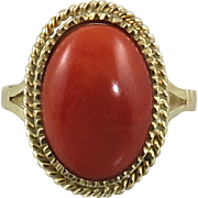 18K Gold and Italian Red Coral Ring