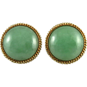 14K Gorgeous Green Jade Button Style Earrings