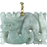 14K Finely Carved Green Jade Dragon Pendant