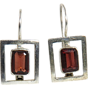 Geometric Garnet and Sterling Silver Earrings