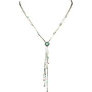 Turquoise and Sterling Silver Lariat Style Necklace 20""