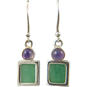 Amethyst and Green Aventurine Dangle Sterling Earrings