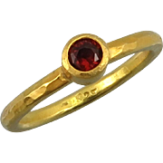 Garnet and 18K Hammered Sterling Vermeil Ring