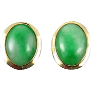 Gorgeous Natural Green Jade and 14K Earrings