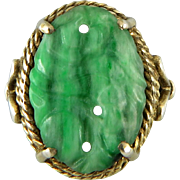 Chinese Art Deco Carved and Pierced Green Jade Ring