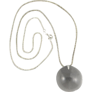 Large Rock Crystal Ball Sterling Silver Necklace