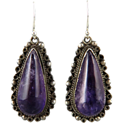 c1940 Amethyst Teardrop Sterling Silver Earrings