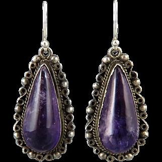 c1940 Amethyst Teardrop Sterling Silver Earrings