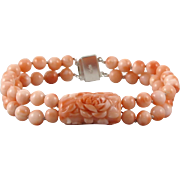 Carved Natural Pink Salmon Coral 2 Strand Bracelet
