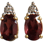 14K 2ctw Garnet and Diamond Earrings