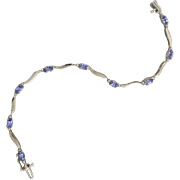 14K Tanzanite and Diamond White Gold Bracelet