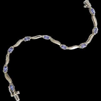 14K Tanzanite and Diamond White Gold Bracelet