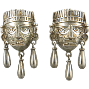 Sterling Silver Mechanical Mask Earrings Amazing!
