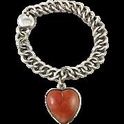 c1930 Sterling Silver Red Jade Heart Charm Bracelet