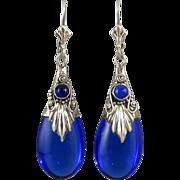 Lapis and Cobalt Glass Sterling Silver Teardrop Dangle Earrings