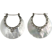 Large Mother of Pearl Carved Sterling Hoops