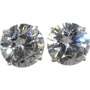 Large CZ Sterling Silver Solitaire Earrings