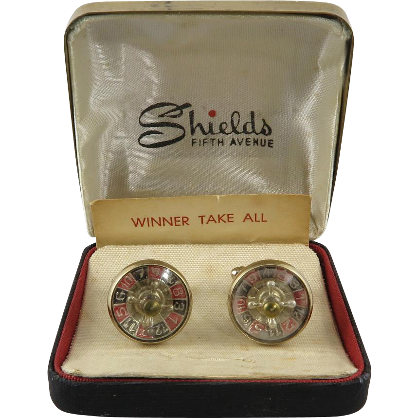 Vintage Working Roulette Cufflinks in Original Box