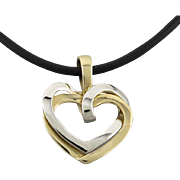 """14K White and Yellow Gold Heart Pendant Necklace 17.5"""""""