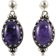 Amethyst and Sterling Silver Dangle Style Earrings Signed