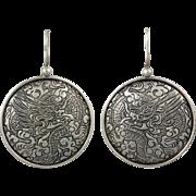 Sterling Dragon Disk Earrings
