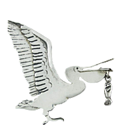 Sterling Pelican Brooch With Moving Fish Signed