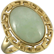 14K Chinese Green Jade Cabochon Style Ring