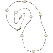 """Freshwater Cultured Pearl Sterling Silver Station Necklace 18"""""""