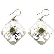 Bold Peridot and Sterling Silver Dangle Style Earrings