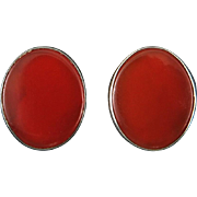 Carnelian and Sterling Silver Classic Button Earrings