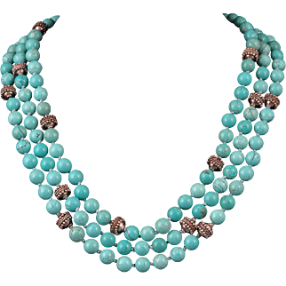 """3 Strand Sterling Silver and Turquoise Magnesite Bead Necklace 20"""""""