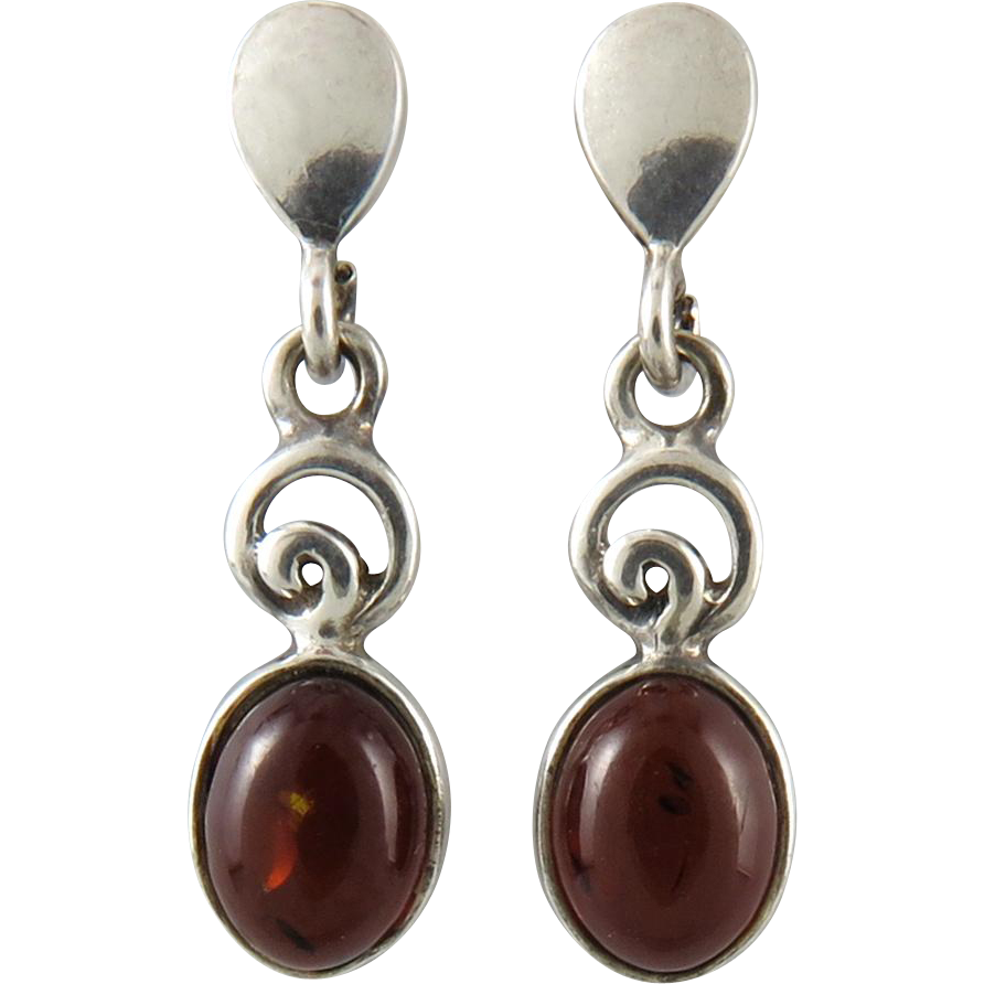Cherry Amber Cabochon and Sterling Silver Dangle Earrings