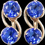 Blue Rhinestone Sterling Silver Screw Back Earrings