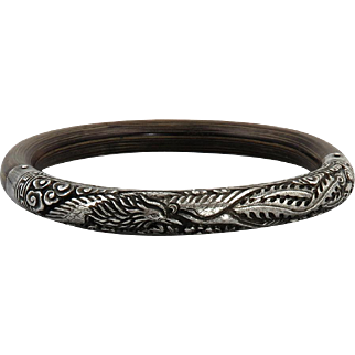 Chinese Carved Silver and Bamboo Phoenix Bangle