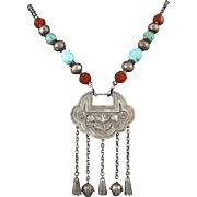 "Chinese Silver Spirit Lock Turquoise and Carnelian Necklace 29"" Signed"