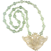 Carved White Jadeite Jade Butterfly and Serpentine Bead Necklace 30""