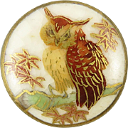 Satsuma Porcelain Owl Button