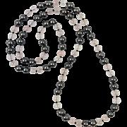 """Translucent Rose Quartz and Hematite Necklace 34"""""""