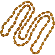 Vintage Amber Glass Spiral Bead Long Necklace 60""